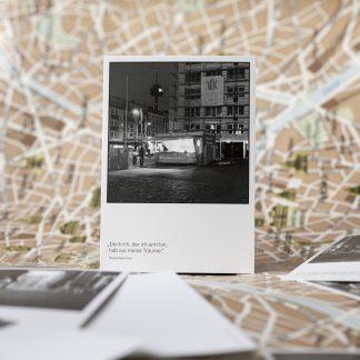 Postkarte Nachtansicht Köln Ehrenfeld mit Zitat von William Butler Yeats